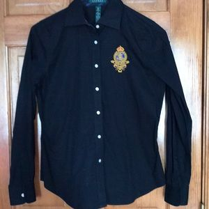 Women's Ralph Lauren Black Button Down Shirt
